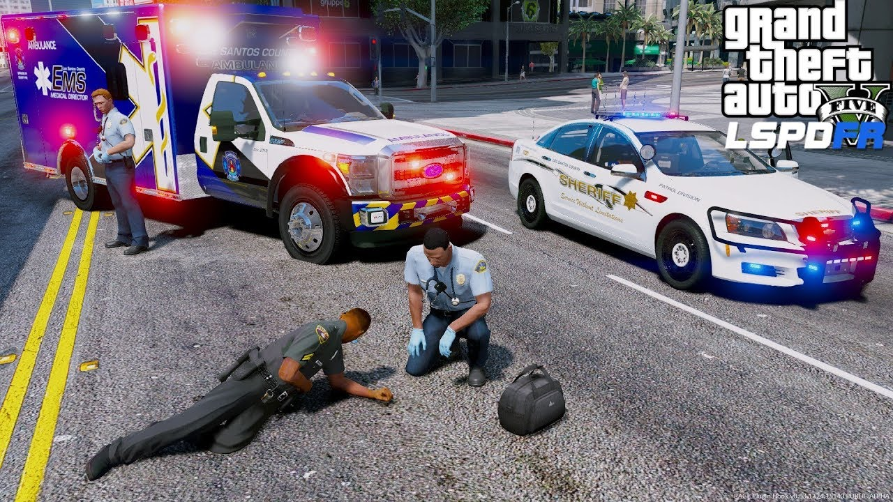 GTA 5 Paramedic Mod Los Santos County Fire EMS Ambulance Responds To  Officer Down