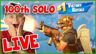 100TH SOLO VICTORY ROYALE on LIVE STREAM with MINI NINJA!!!