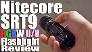 Nitecore SRT9 Flashlight Review.  UV, Red, Green, Blue, & White Tactical Torch