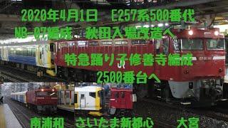 2020/4/01 EF81 141号牽引 配給列車 E257系500番台NB-07編成 秋田入場 南浦和 さいたま新都心 大宮