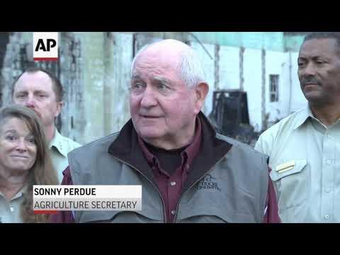 Zinke, Perdue view California fire damage
