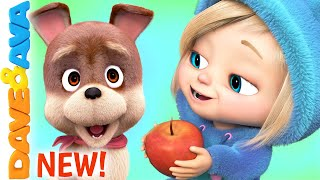 🍏 Five Apples in the Apple Tree | Nursery Rhymes by Dave and Ava 🍏