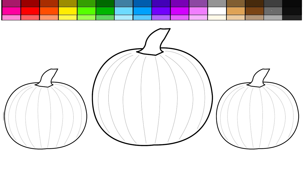 Learn Colors for Kids and Color Halloween Pumpkin Coloring Pages ...