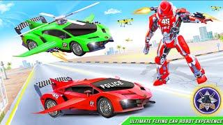 تجربة قيادة السيارات المستقبلية في ألعاب تحويل السيارات الطائرة Flying Police Helicopter Car screenshot 4