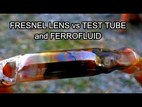 Fresnel Lens vs Test Tube Ferrofluid from GreenpowerScience 2900˚ F