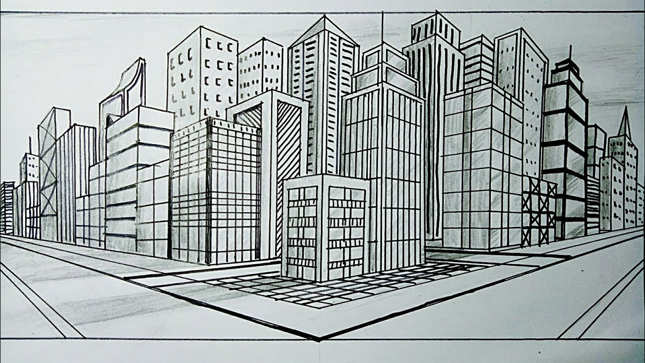 Cara Menggambar Gedung Perkotaan Dengan Perspektif 2 Titik Hilang Youtube