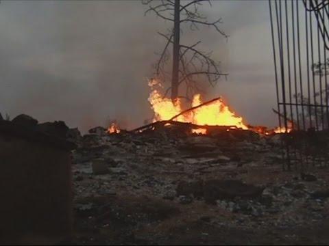 Raw: Two Wildfires Around Spokane, Washington