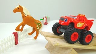 Monster Machines em português. Blaze e Crusher seguem o cavalo.