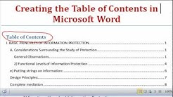 Creating the Table of Contents Using Microsoft Word 2007, Word 2010, Word 2013, Word 2016