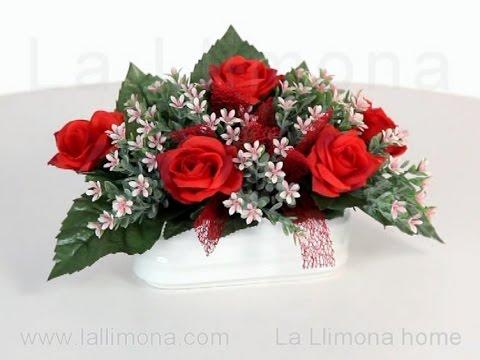 Arreglos Florales Jardinera Cerámica Rosas Artificiales Rojas Y Bush Silvestre La Llimona Home