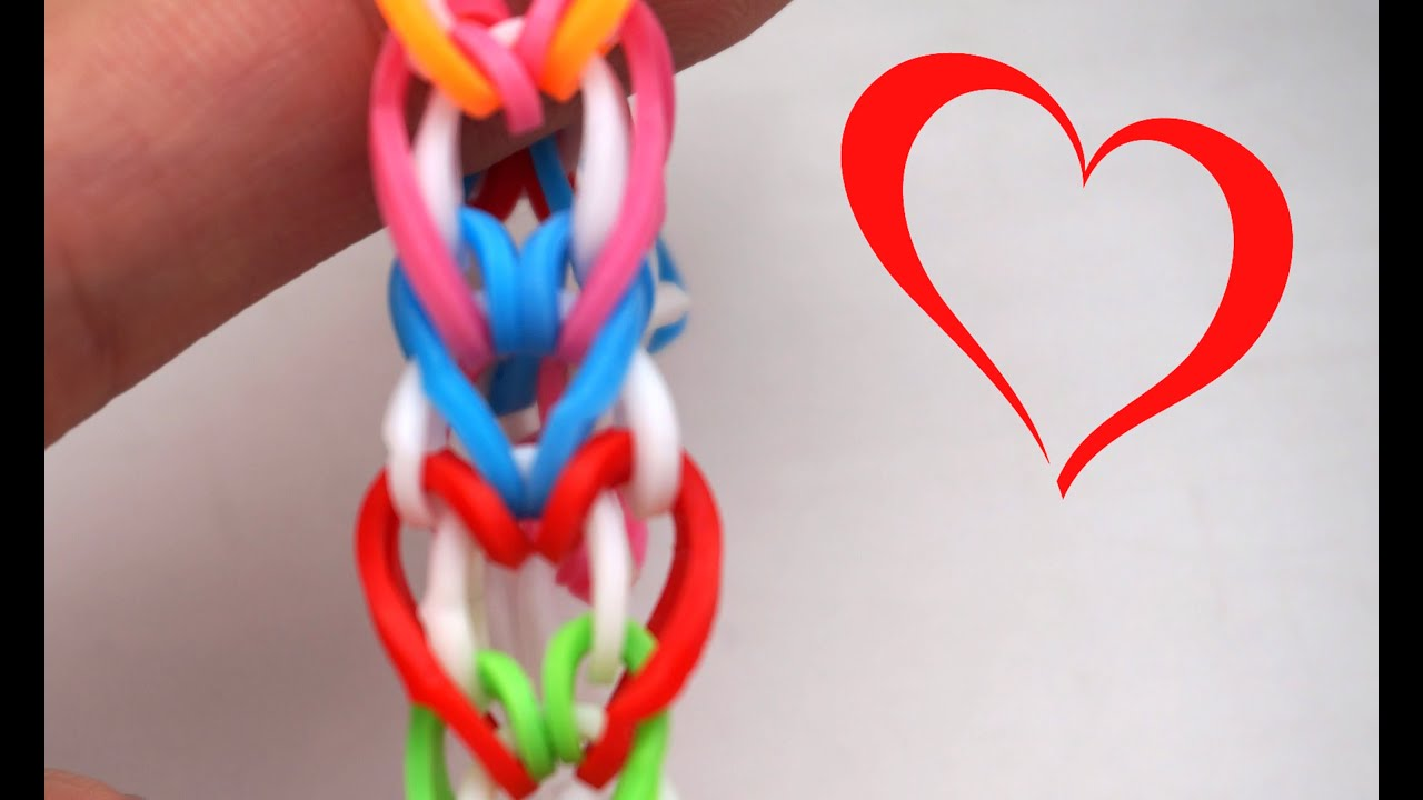 How To Make Heart Love Rainbow Loom Bracelet Without Loom -7451