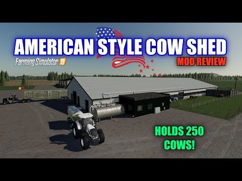 """Farming Simulator 19 - American Style Cow Shed V1.0 """"Mod Review"""""""