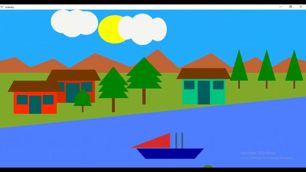 Village Scenario OpenGL Project | Day Night Cycle Animation | C++ Computer  Graphics Program | Ship