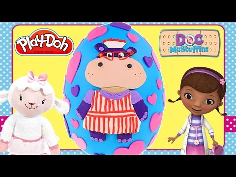 Mega Play Doh Doc McStuffins Giant Hallie Surprise Egg! Disney Junior Playdough Toy Egg by DCTC