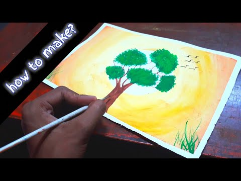 how to make summer landscape with tree?   beautiful summer painting   landscape with water color