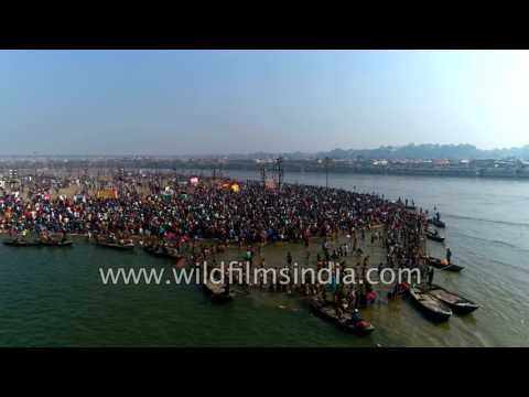 Triveni Sangam - the confluence of Ganga, Yamuna and Saraswati, Aerial view