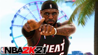 NBA 2K21 MIAMI HEAT LEBRON JAMES BUILD - CONTACT DUNKS, 80 3 POINTER and PRO DRIBBLE MOVES