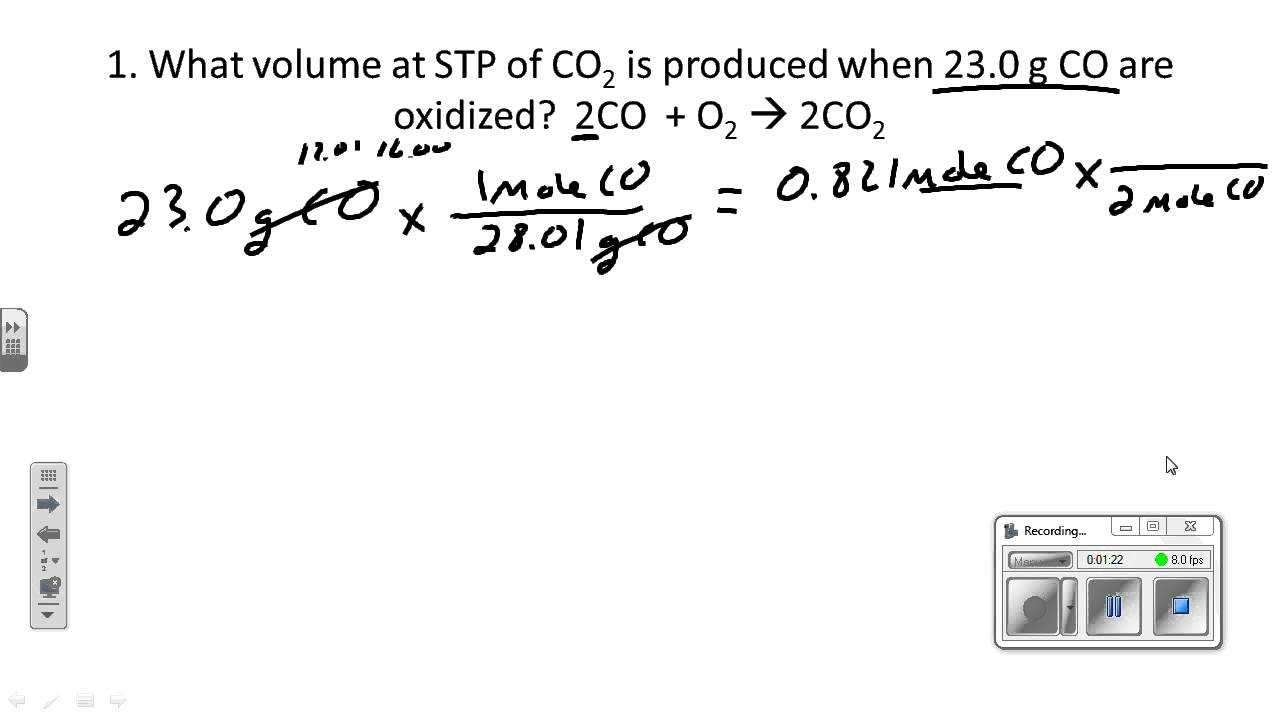 Stoichiometry I Mass Volume At Stp