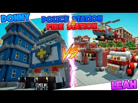 Minecraft POLICE STATION HOUSE VS FIRE STATION HOUSE!!
