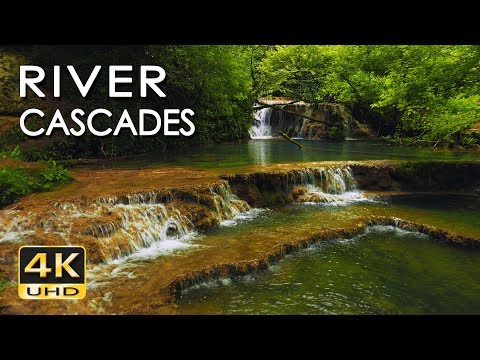 4K River Cascades  Relaxing Waterfall Sounds & Ultra HD Nature   Water Flow  White Noise