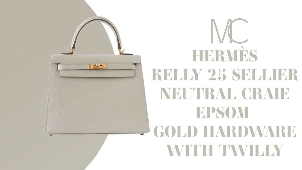 9b92d474ba42 MIGHTYCHIC • HERMÈS Kelly 25 Sellier Bag Neutral Craie Epsom Gold Hardware  with Twilly