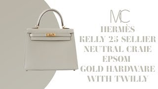 232a26876ad MIGHTYCHIC • HERMÈS Kelly 25 Sellier Bag Neutral Craie Epsom Gold Hardware  with Twilly ...