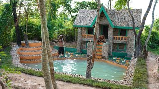 90 Days They're Lived In Forest Build  Stone House ,Water Well,Underground Swimming Pool & Fish Pond