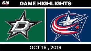 NHL Highlights | Stars vs Blue Jackets – Oct 16 2019