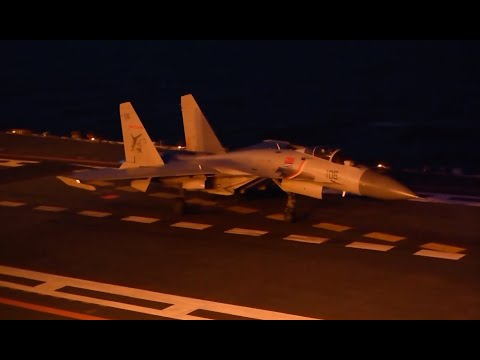 Rare footage of how China&39;s J-15 takes off at night