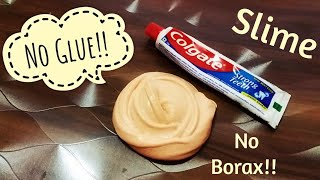 Colgate Toothpaste Slime with salt!! how to make slime  with toothpaste without glue &amp borax!