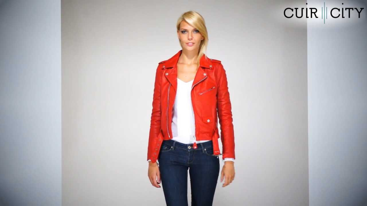Veste cuir schott femme rouge