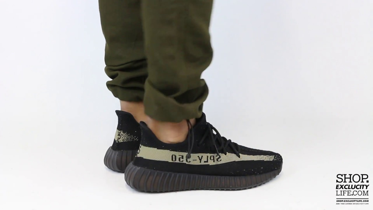 d2cf23744 Adidas Yeezy Boost 350 V2 Black - Olive On feet Video at Exclucity ...