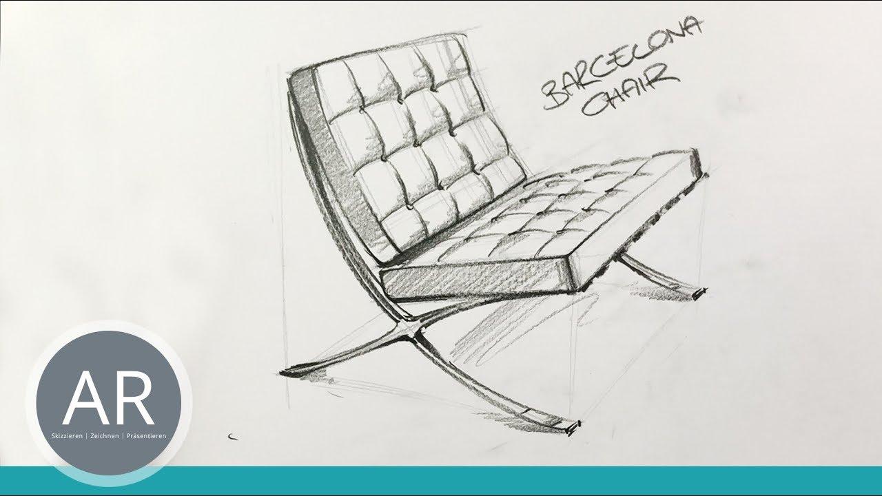 möbel-klassiker zeichnen. möbeldesign in innenarchitektur. schnell-skizzen.  mappenkurs retail-design