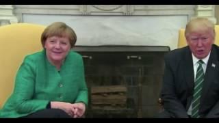Trump didn't shake Merkel's hand OTHER CAM LOCATION. HE simply didn't hear?