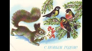 Новогодние ОТКРЫТКИ СССР - Советские, старые, редкие: Птицы и зверушки