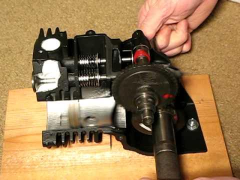 4-stroke lawn mower engine cut away.