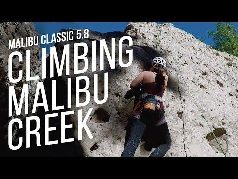 Diana Shin rock climbing on Malibu Classic 5.8 at Malibu Creek