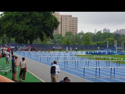 15-16 Novas girls 100m hurdles, Icahn Stadium