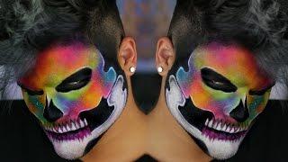 Rainbow Neon Watercolor Skull Makeup Tutorial