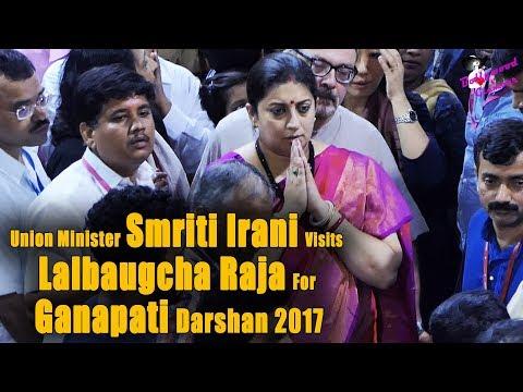Union Minister Smriti Irani Visits Lalbaugcha Raja For Ganapati Darshan 2017