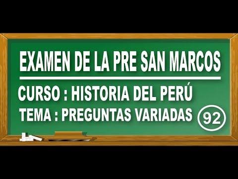 REPASO DE HISTORIA DEL PERÚ : PREGUNTAS VARIADAS - EXAMEN PRE SAN MARCOS DE PERÚ