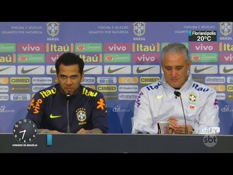 Daniel Alves será o capitão da seleção no amistoso contra a Alemanha| SBT Brasil (26/03/18)