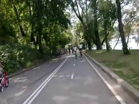 Велопоездка по Воробьевской набережной (Moscow bicycle riding Vorobyevskaya naberezhnaya)