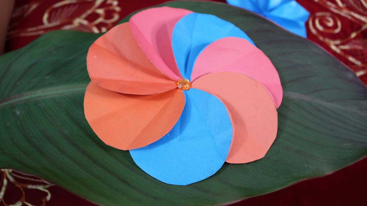 How To Make A Simple Paper Flower Diy Crafts Making At Home Easy