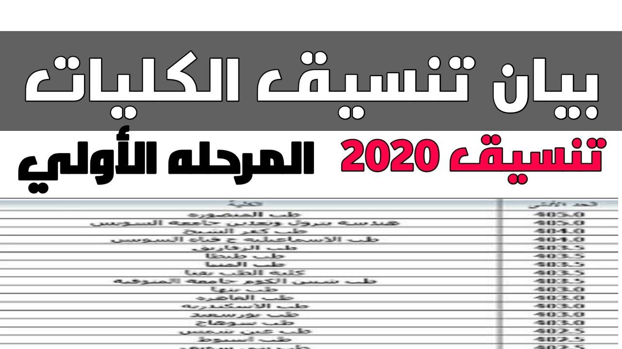 بيان عن تنسيق المرحلة الأولى الكليات والمعاهد الحكومية 2020 ادبي وعلمي