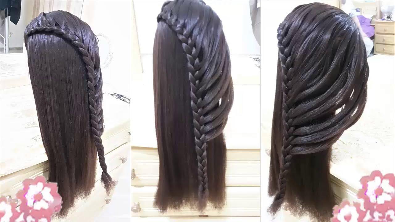 peinados faciles para niña con trenzas para cabello largo , rapidos y bonitos para escuela 2015 , YouTube