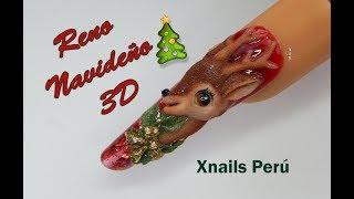 Uñas Acrílicas Reno Navideño 3D / Xnails Peru