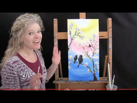 Birds On Blossoming Branch | Cookies And Canvas For Kids | Acrylic Painting Tutorial Step By Step