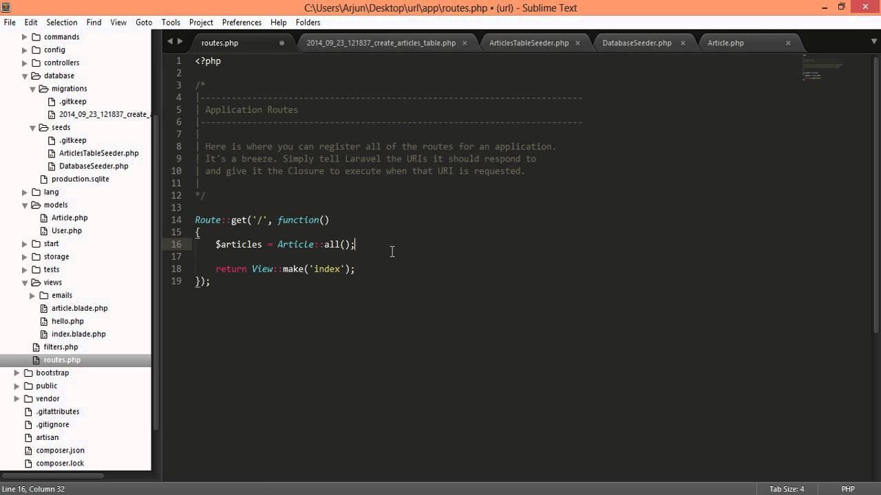 laravel 4 user friendly url, permalinks for articles with slug