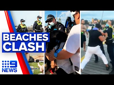 Coronavirus: Violence erupts on Melbourne beaches | 9 News Australia